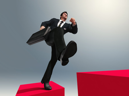 hurry up: businessman running up the stairs Stock Photo