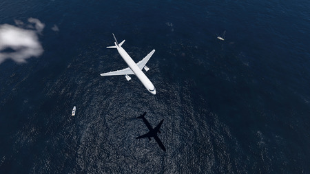 over the sea: airplane flies over a sea