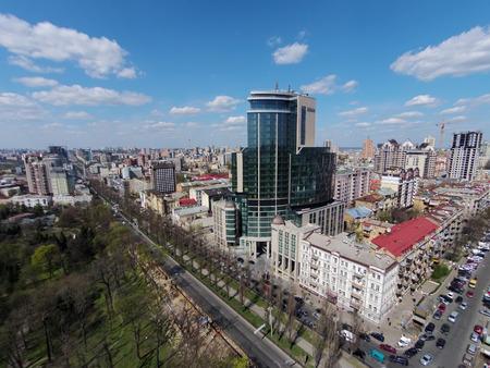 blvd: aerial view of Kiev, Shevchenko blvd, Hilton hotel, Ukraine Editorial