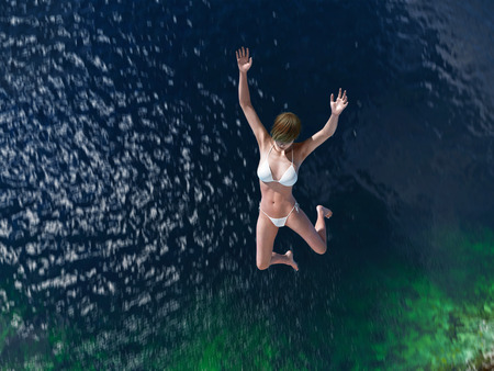cliff jumping: woman jumping in the blue sea