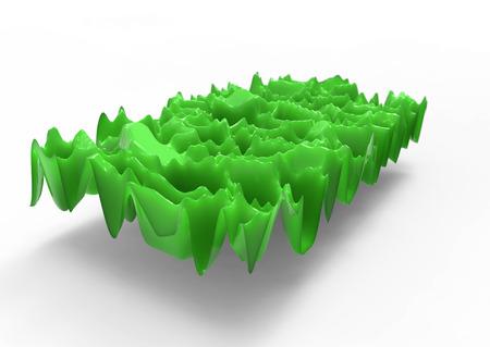 amplitude: green plastic waves Stock Photo
