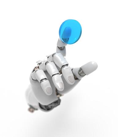 artificial hand presses the button