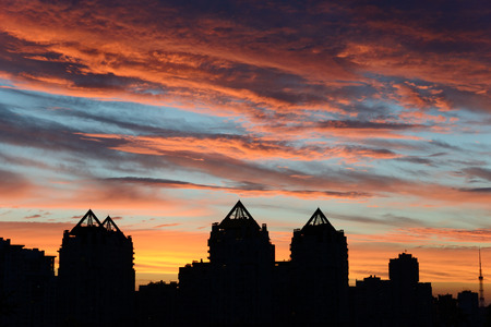 sunset city: beautiful sunset in the city