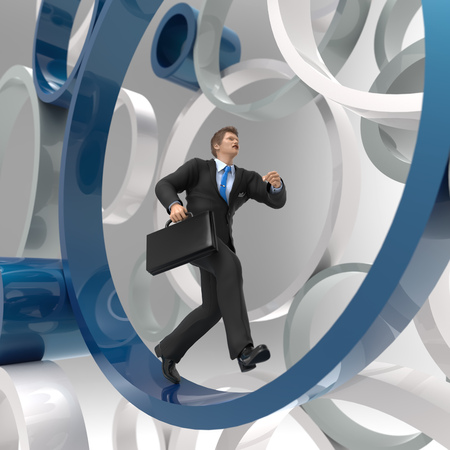 metaphor: businessman running in the circle Stock Photo