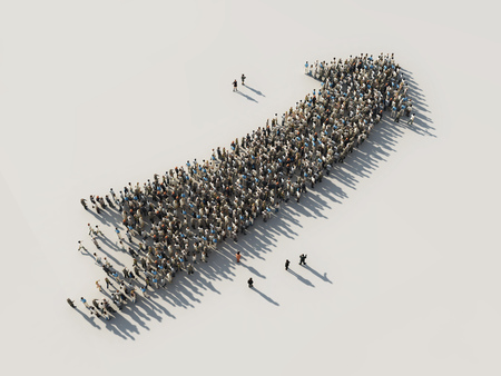 large: arrow of crowds Stock Photo