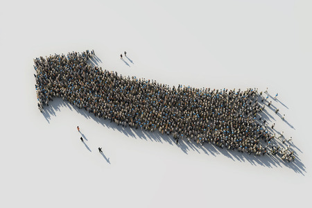 crowds of people: arrow of crowds Stock Photo
