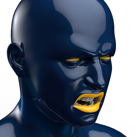 screaming head: head screaming man