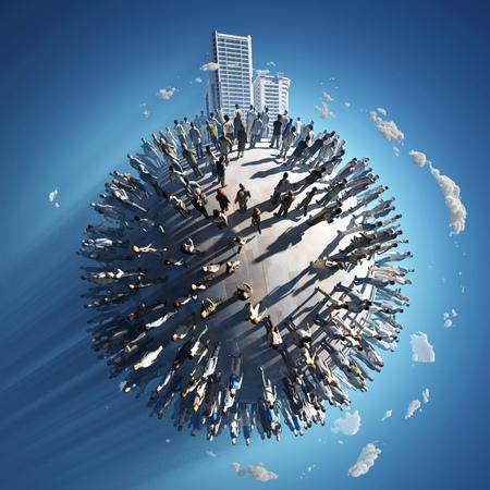 poblacion: población de un pequeño planeta Foto de archivo