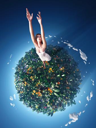air jump: girl running around the planet