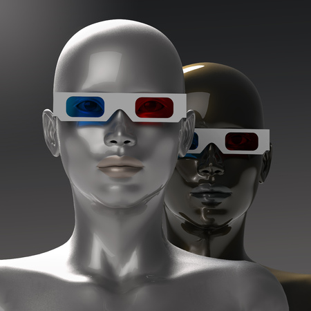 stereoscopic: two people in stereoscopic glasses Stock Photo