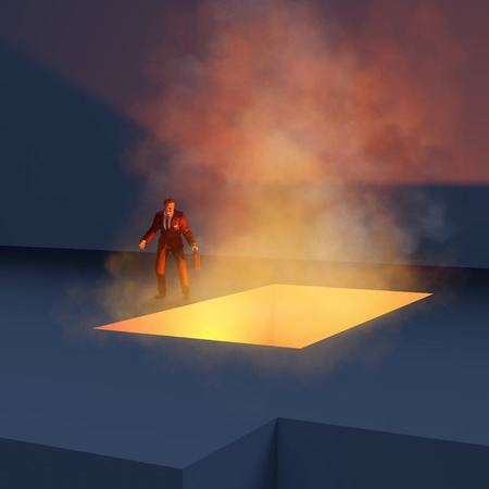 abyss: man standing on the edge fiery abyss