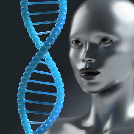 ojo humano: el hombre mira la molécula de ADN