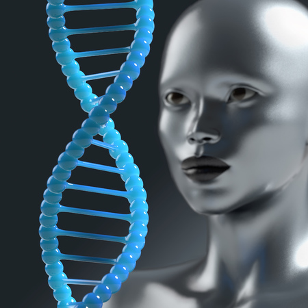 new medicine: man looks at the DNA molecule