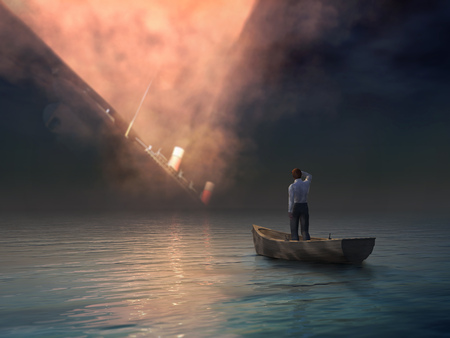 man in boat looking on shipwreck Stock Photo