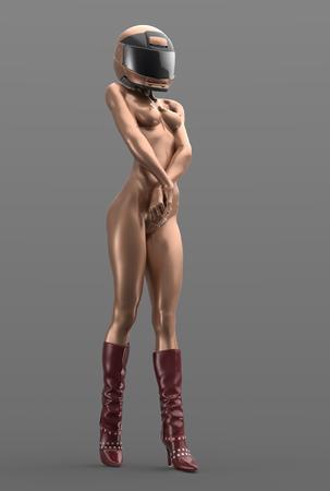 chica sexy: Mujer metálico en el casco