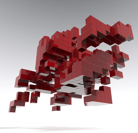 cubic: Abstract cubic red structure