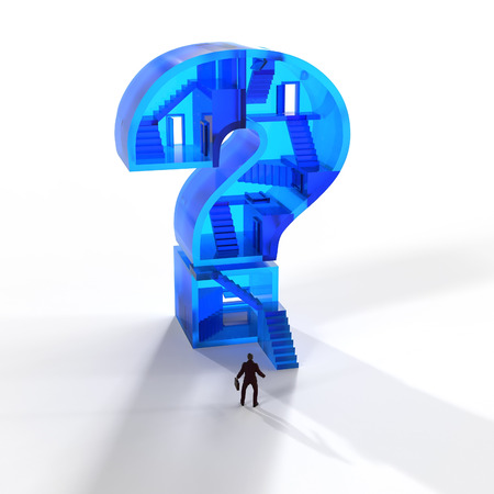 an answer: man in front of a glass question mark