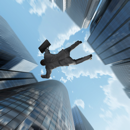 abyss: businessman falling into the abyss