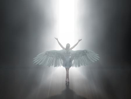 angel before open door to heaven