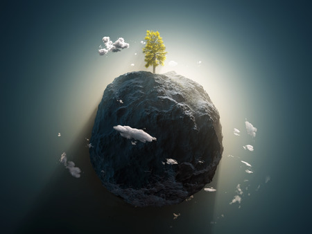 lonely tree: lonely tree on the stone planet Stock Photo