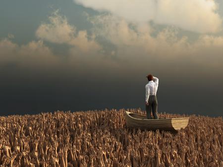 drifting: businessman drifting through the sea of human hands
