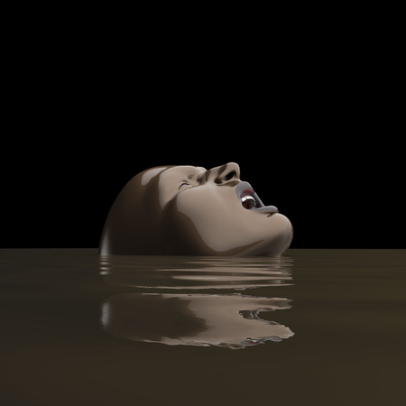 man drowning in the mud