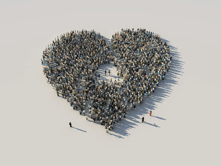 the crowd in a heart shape