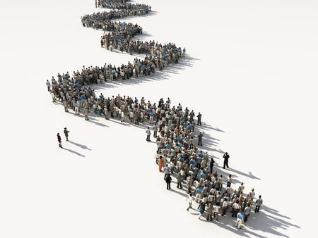 Grupo, gente, esperar, línea Foto de archivo