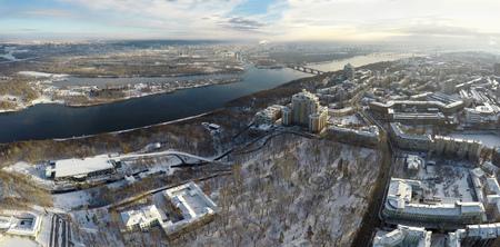 Kiev winter, Mariinsky park, aerial view