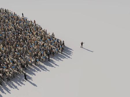vrouw toont de richting van de menigte Stockfoto