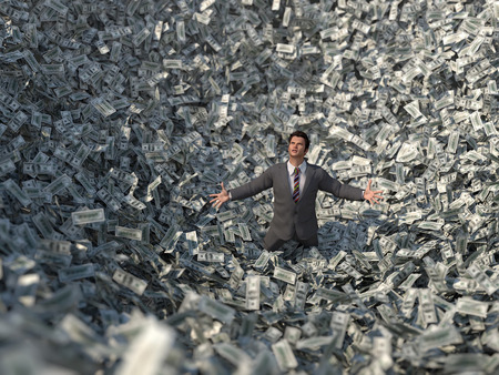 rapacity: businessman in a money avalanche