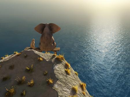 elephant and dog rest on a crag near the sea