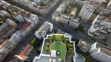 urban gardening: Summer morning in Kiev, aerial view