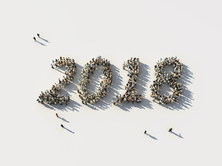 crowd as the 2018 numbers Stock Photo