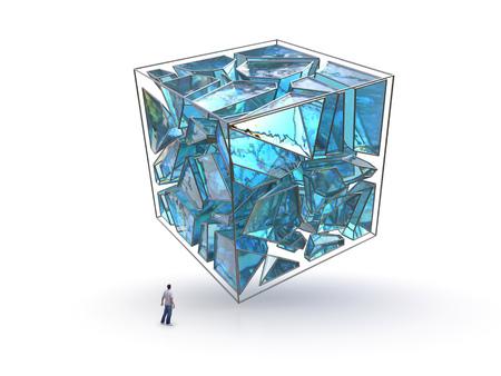 ひび割れた大きな立方体