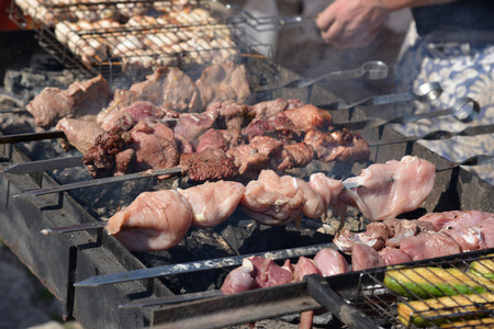 Grilled meat, cooking in the open air