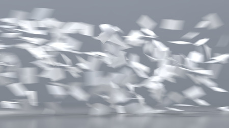 Flying sheets of white paper Imagens