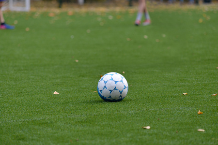 soccer ball on an artificial turf field