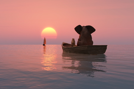 elephant and dog are floating in a boat at sunset Imagens