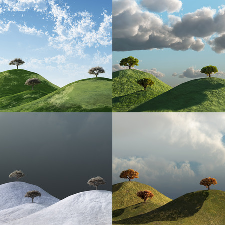 4 seasons, trees in a landscape, time lapse set Imagens