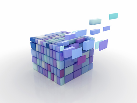 transformation of the cube divided into parts Imagens