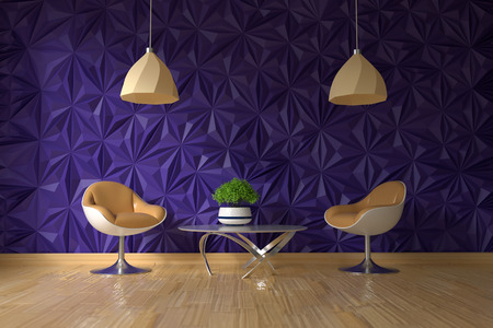 two armchair and glass table with green plant on empty textured violet wall in simple living room interior Imagens