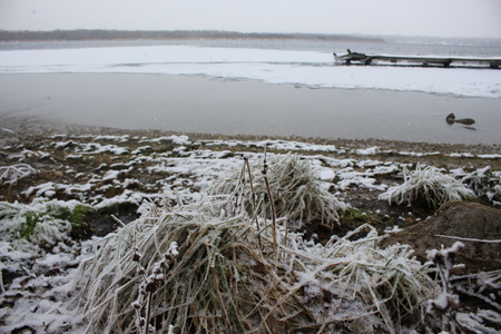 Snow-covered bank of the Dnieper River