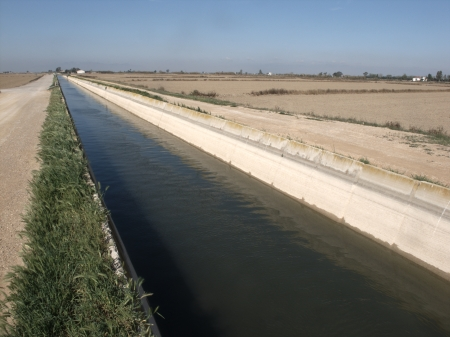ebre: Canal in the Ebre Delta carrying water to fields, Catalunya, Spain