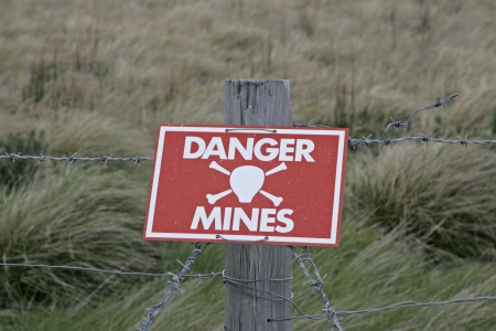 Landmines sign, danger minefield in the Falklands photo