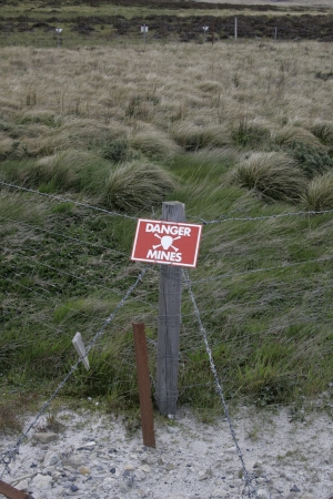 Landmines sign, danger minefield in the Falklands Stock Photo - 24727903