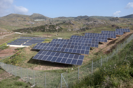 hillside: Solar panels in a field on hillside, Cyprus