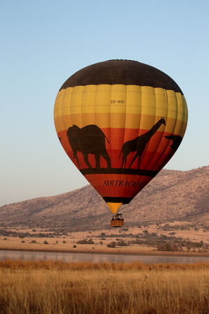 flying float: Hot air balloon, Pilanesburg NP,  South Africa, August 2015