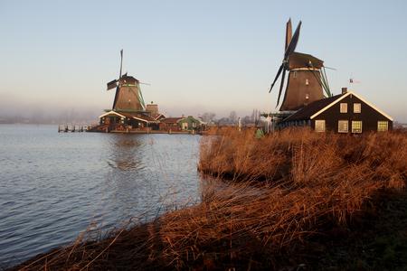 Windmills at Zaanse Schans, North of Amsterdam, Netherlands, January 2017 Stock Photo