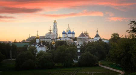 Trinity St. Sergy Monastery in dusk. Sergiev Posad, Russia photo
